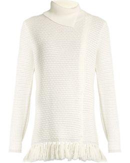 Fringed-hem Knit Sweater