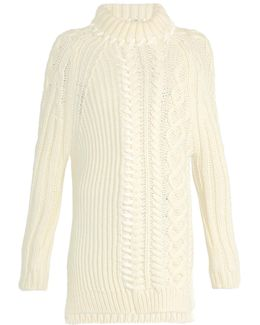 High-neck Cable-knit Wool Sweater
