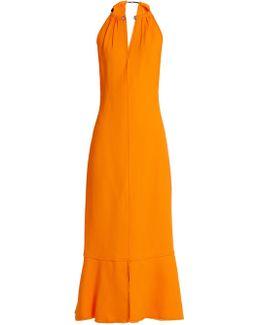 Choker-Neck Crepe Midi Dress