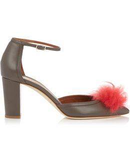 Jan Cashmere-pompom Leather Sandals