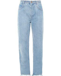 Frayed-hem Wide-leg Jeans