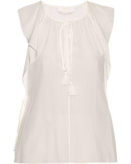 Ruffled Cap-sleeved Silk-crepe Top