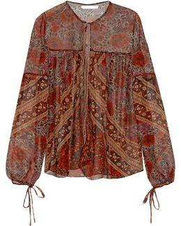 Foulard-print Sheer Silk Blouse