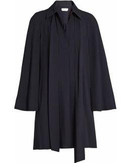 Point Collar Long-sleeved Cady Shirtdress