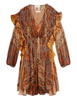 Foulard-print Ruffle-trimmed Silk Dress