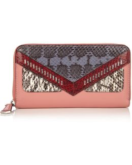 Bag Bugs Zip-around Leather And Watersnake Wallet