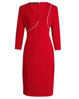 V-neck Cross-stitch Embroidered Dress