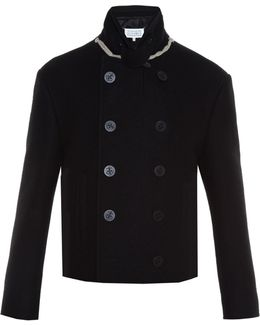Double-breasted Cropped Wool Pea Coat