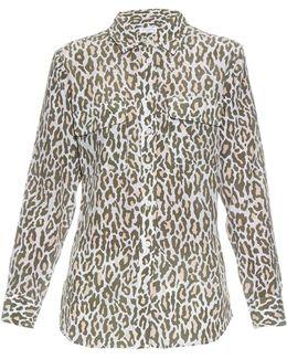 Signature Cheetah-print Silk Shirt