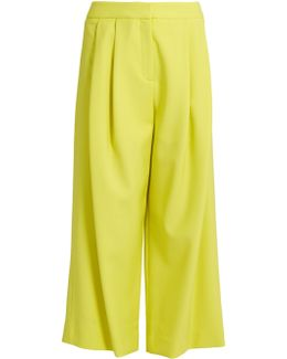 Pleated-front Wide-leg Cropped Trousers