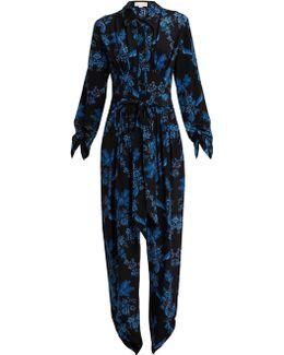 Floral-print Silk Jumpsuit