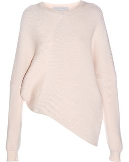 Asymmetric Long-sleeved Ribbed Sweater
