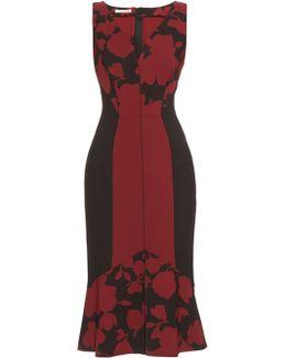 Fluted-hem Floral-brocade Dress
