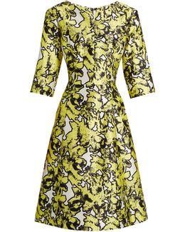 V-neck Floral-print Full-skirt Silk Dress