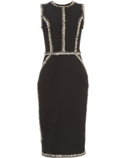 Sleeveless Tweed-trimmed Pencil Dress