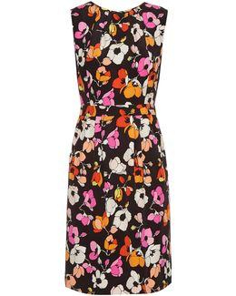 Sleeveless Floral-print Silk Pencil Dress