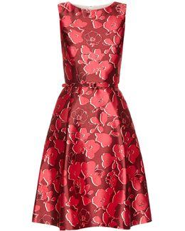 Sleeveless Floral-print Mikado Dress