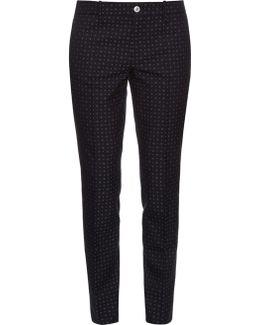 Dot-jacquard Skinny-fit Trousers