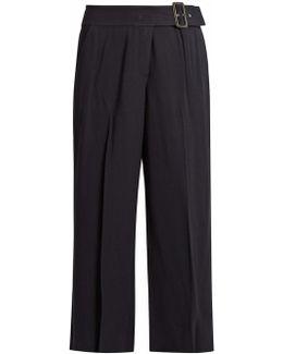 Emliy Cropped Wide-leg Crepe Trousers