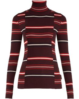 Roll-neck Striped Ribbed-knit Wool Sweater