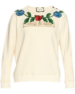 Flower And Tree Embroidered Cotton Sweatshirt