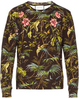 Tropical-print Floral-appliqué Cotton Sweatshirt