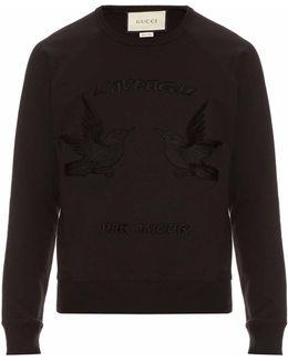 Hummingbird-appliqué Cotton Sweatshirt