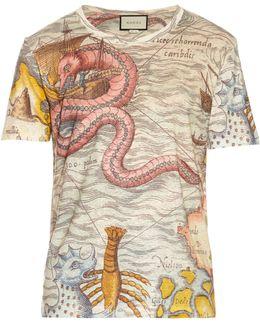 Sea Map-print Linen T-shirt