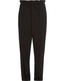 Pinstriped Dropped-crotch Trousers