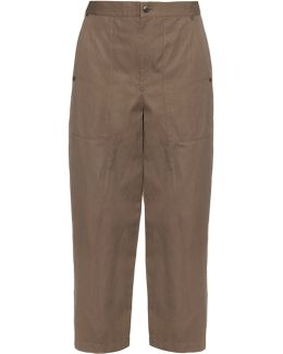High-rise Wide-leg Cotton And Linen-blend Trousers