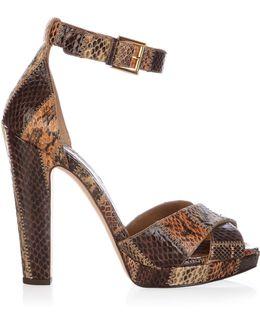 Leather Block-heel Platform Sandals