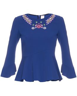 Geometric-embroidered Fluted-hem Top