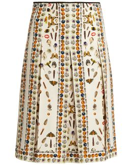 Obsession-print Pleated Skirt