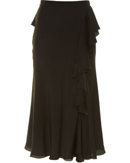 Ruffled High-rise Midi Skirt