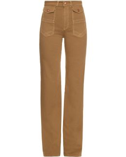 High-rise Flared Cotton-canvas Trousers