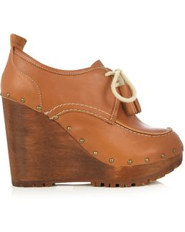 Lace-up Leather Wedge Shoes