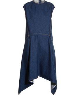 Cut-out Back-hem Denim Dress