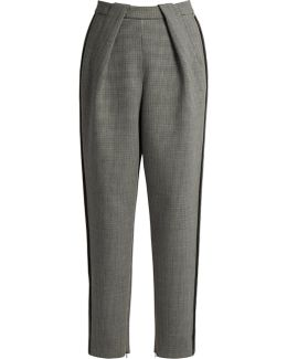 High-waisted Tapered-leg Hound's-tooth Trousers