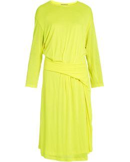 Asymmetric-peplum Jersey Midi Dress