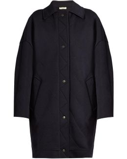 Diamond-Quilted Wool-Blend Cocoon Coat