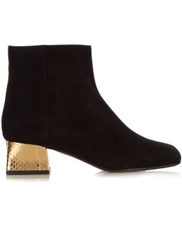 Suede And Gold Block-Heel Ankle Boots