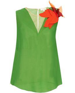 Floral-brooch Silk-Georgette Top