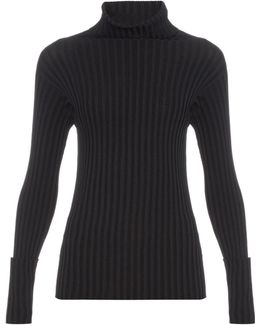Roll-neck Long-sleeved Ribbed Sweater