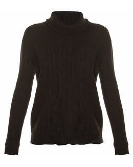 Raw-edge Ribbed-knit Sweater