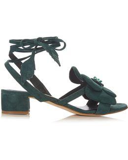 Dahlia Floral-detail Suede Block-heel Sandals