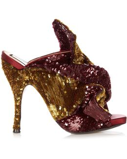 Bow-front Sequin Mules