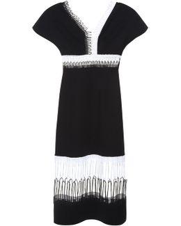 Loop-lace Short-sleeved Midi Dress