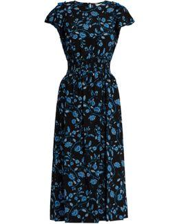 Open-shoulder Silk-chiffon Dress