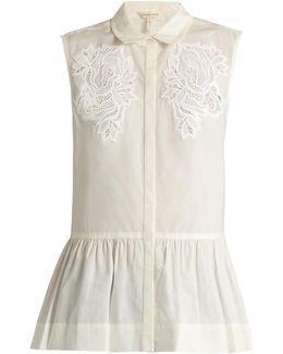 Medallion-lace Sleeveless Cotton-poplin Top