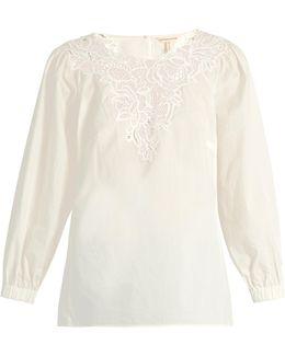 Macramé-lace Panelled Cotton Top